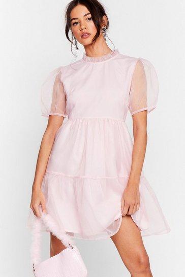 Baby pink We Sheer What Your Sayin' Organza Mini Dress