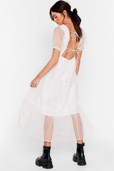 White To Tie For Organza Midi Dress