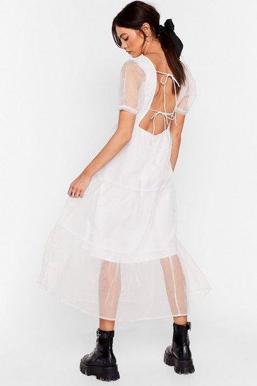 White To Tie For Organza Midi Dress