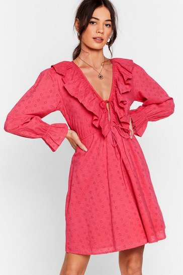 Hot pink Frill Got Love For You Broderie Mini Dress