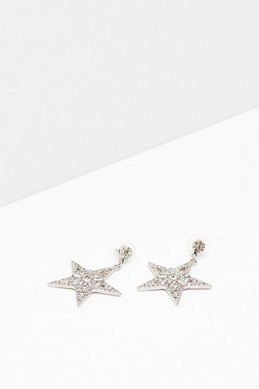 Silver We Say Two Stars Diamante Drop Earrings