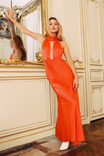 Orange Satin Maxi Dress with Low Back