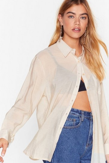 Natural Sheer Not Button-Down Shirt