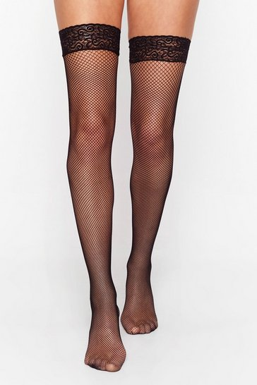 Black Lace Have a Good Time Fishnet Stockings