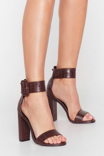 Chocolate Strap in Faux Leather Croc Heels