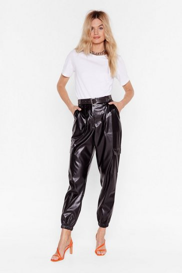 Black Faux Leather Too Old Utility High-Waisted Pants