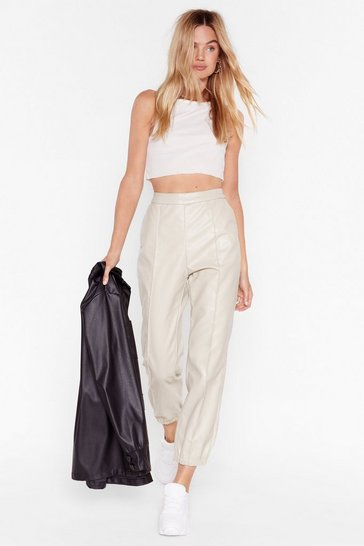 Sand Faux Leather Tell a Sole High-Waisted Jogger Pants