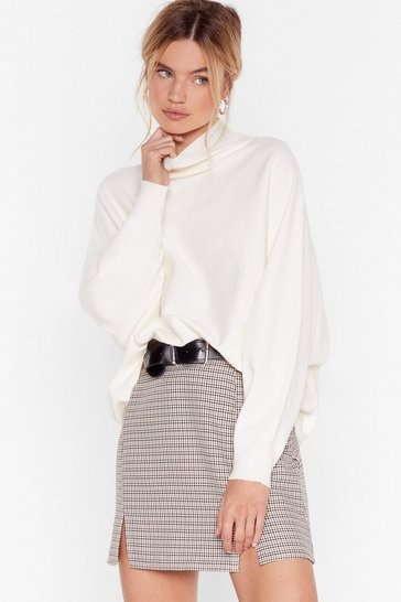 Cream Wing Me Up High Neck Sweater
