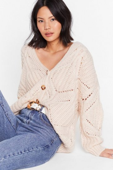 Soft pink Relaxed Button Down Wide Knit Cardigan