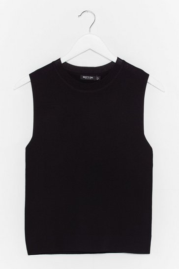 Black Ribbed Edge Knit Tank Top