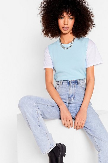 Pale blue Ribbed Edge Knit Vest Top