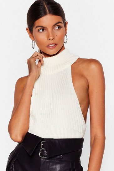Cream The Racer is On Ribbed Knitted Top