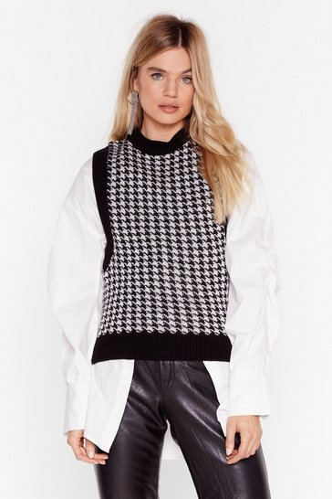 Black Tell Us the Houndstooth Knitted Vest Top
