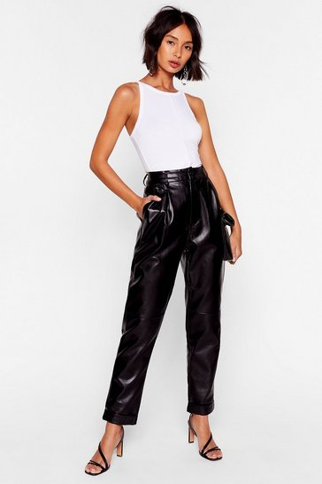 Black Can You Feel the Pleat Faux Leather Tapered Pants