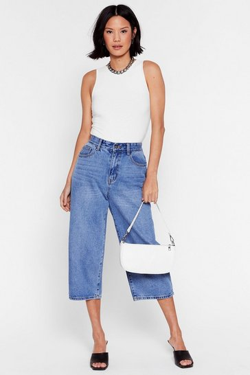Mid blue Meet Me Half Way Cropped Wide-Leg Jeans