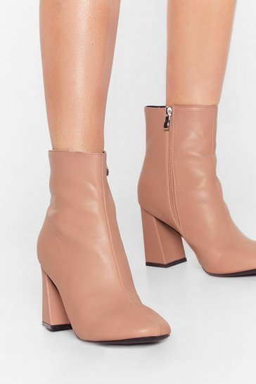 Beige Hit Your Stride Faux Leather Ankle Boots