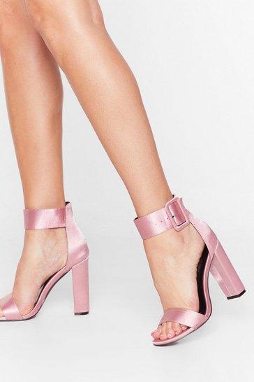 Peach Buckle That Satin Heels