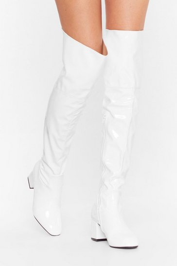 White Game Over-the-Knee Faux Leather Heeled Boots