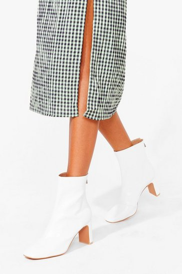 White When We Heel Like It Faux Leather Boots