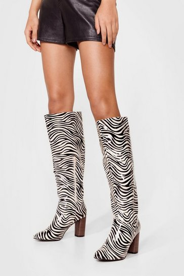 Beige Zebra Print Knee High Boots