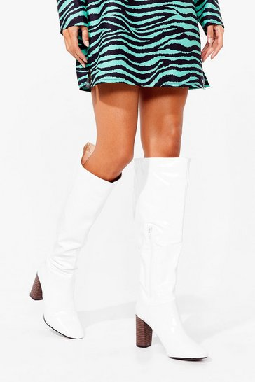 White Faux Leather Slouchy Knee High Boots
