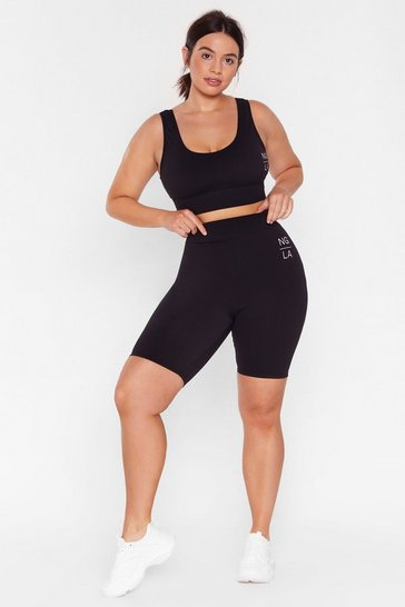 Black Hold Up Plus Workout Biker Shorts