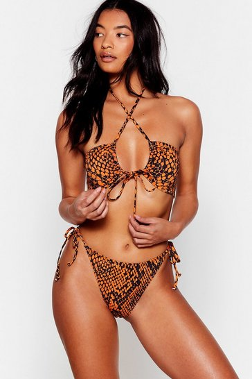 Orange Snake My Day Tie High-Leg Bikini Set