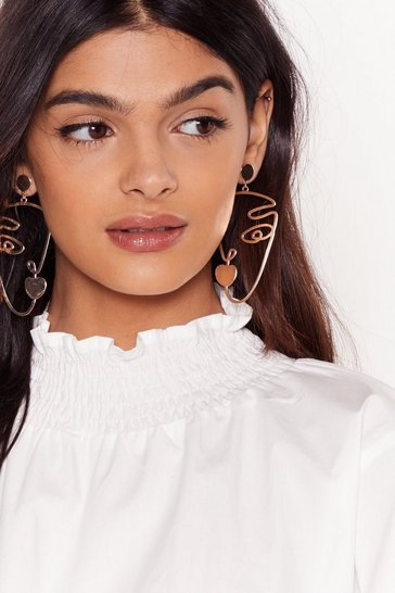 Gold Get Our Best Side Face Drop Earrings