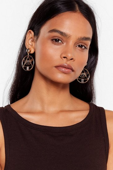 Gold See Eye to Eye Drop Hoop Earrings