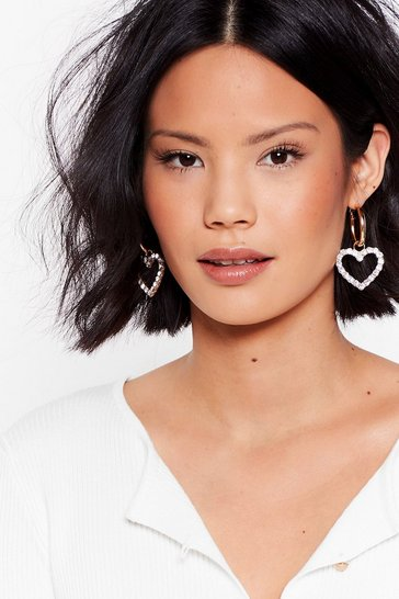 Gold Figure My Heart Out Drop Diamante Earrings