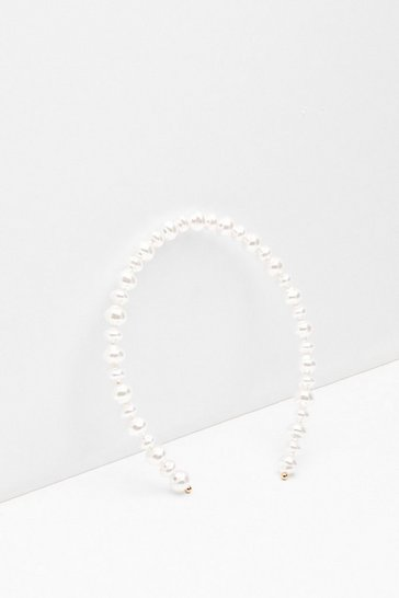 White Drop the Act Pearl-Inspired Headband