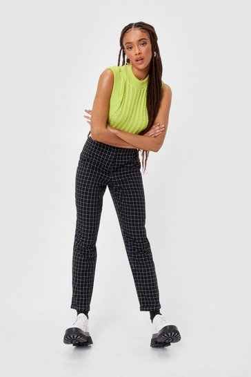 Black Check High Waisted Tailored Trousers