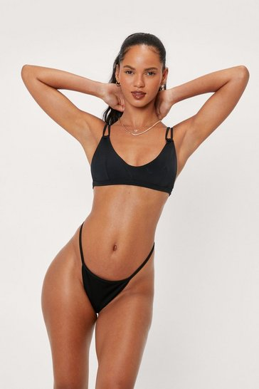 Black Recycled Take the Dive Animal Bikini Top