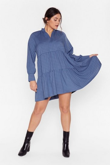 Blue It's a Picnic Plus Check Dress