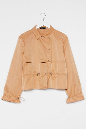 Camel Draw the Line Cropped Trench Coat