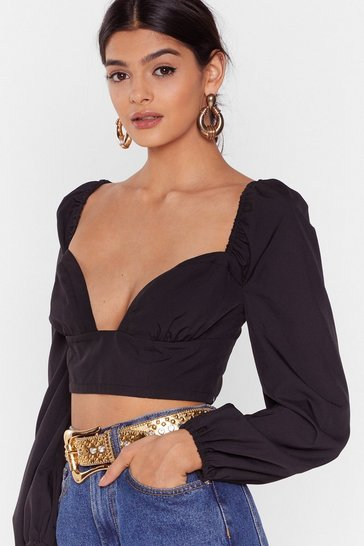 Black Taken the Plunge Sweetheart Cropped Blouse