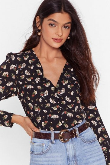 Black Planting Seeds Floral Button-Down Blouse