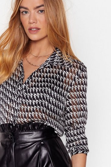 Black Houndstooth It Going Chiffon Relaxed Blouse