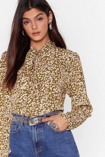 Olive Meow We Like It Leopard Pussybow Blouse
