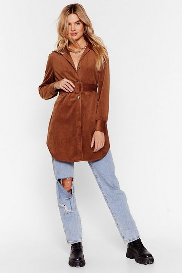 Camel Corduroy Longline Shirt with Button-Down Closure