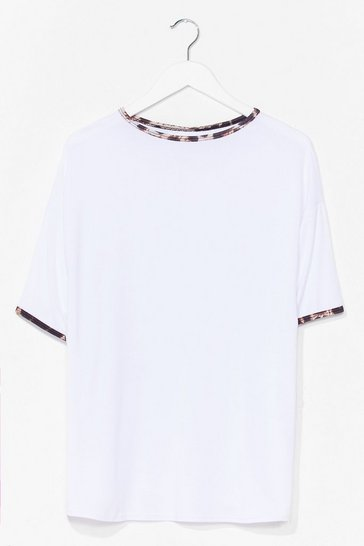 White We Want Roar Leopard Ringer Tee