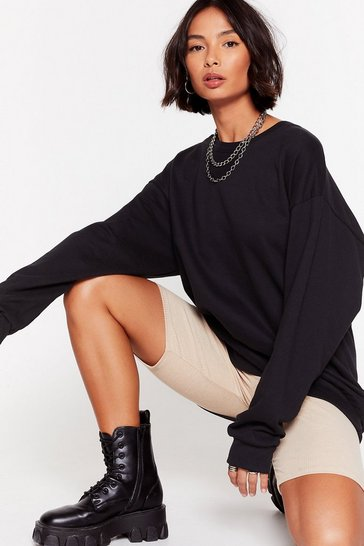 Black Working Up a Sweat Oversized Sweatshirt