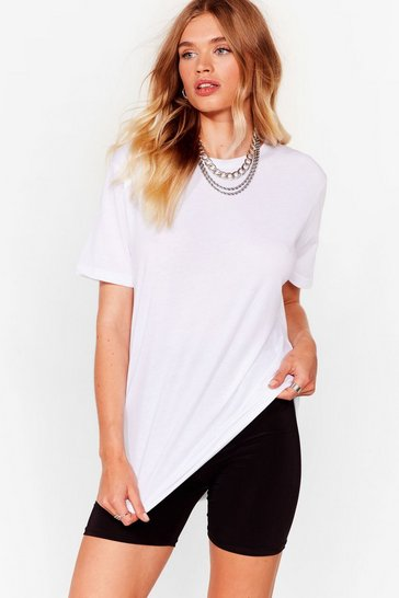 White Spill the Oversized Tee