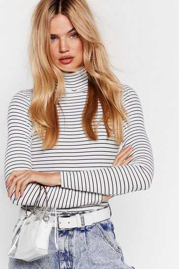 White Out With the Cold Turtleneck Striped Bodysuit
