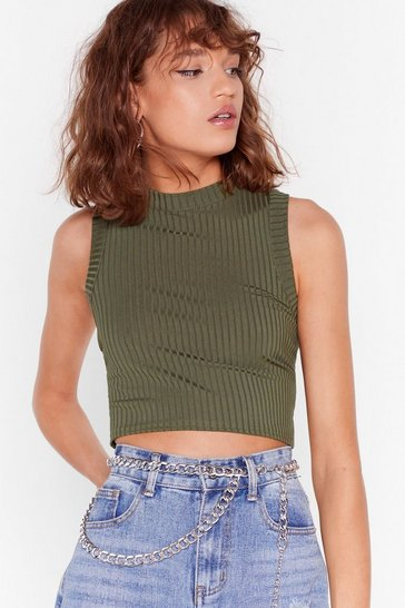 Khaki Race You to the Crop Ribbed Tank Top