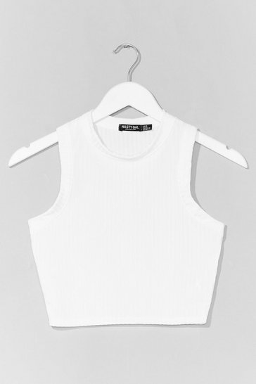White Ribbed Crew Neck Crop Vest Top