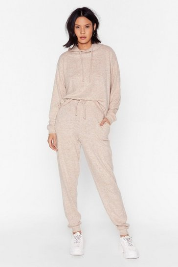 Camel Lounge Mode Soft Knit Hoodie and Jogger Set