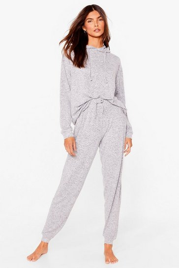 Grey Lounge Mode Soft Knit Hoodie and Jogger Set