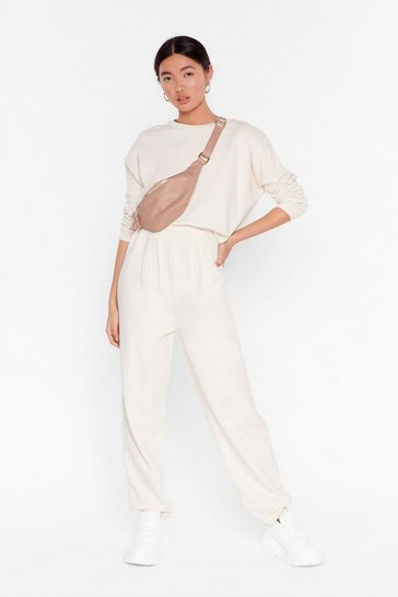 Ecru Work Together Jumper and Pleated Joggers Set