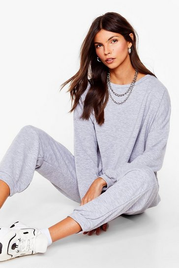 Grey marl Work Together Sweater and Pleated Joggers Set